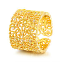 Fashion Womens Yellow Gold Filled Clear Crystal Hollow Thumb Ring Size 6 7 8 9