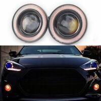 "2.5"" COB LED Fog Light Projector Car Angel Eyes Halo Ring DRL Fog Lamp Red Bulbs"