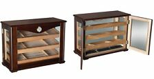 Large Wood Glass Humidor Box Cabinet - Cigar Humidifier Vintage Antique Look 100