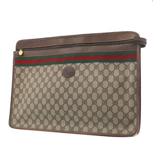 GUCCI GG Plus Web Stripe Brief Case Clutch Bag Brown PVC Italy Auth #UU716 O