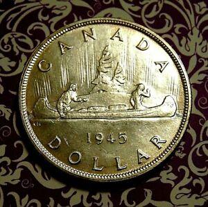 CANADA Canadian 1945 silver dollar King George VI NICER BU