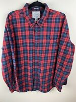 St Johns Bay Men's Brushed Flannel Shirt Large Classic Fit Cotton Red Plaid XXL