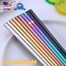 Stainless Steel Chinese Korean Chopsticks Pair Colorful Gold Reusable Food Set