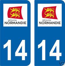 2 STICKERS 14 style PLAQUE D'IMMATRICULATION Département 14 Région NORMANDIE
