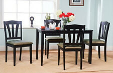 New listing Black 5 Piece Dining Set Solid Wood in Black finish Table & 4 chairs Ships Free
