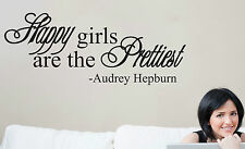 Happy Girls Are The Prettiest Audrey Hepburn Quote Wall Decal Removable Sticker