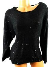 Kikit black round neck women's plus size sequins long sleeve pullover sweater 1X