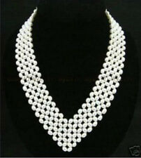"""Jewelry white Pearl Necklace 17"""" Genuine Natural 7-8 Mm Stylish Women's"""