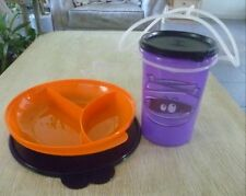 Tupperware Free Ship New Halloween Set 2 Tumbler w/handle 1L and Divided Plate