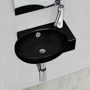 vidaXL Ceramic Bathroom Sink Basin Faucet/Overflow Hole Black Round Wall Hung