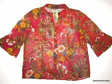CHICO'S 100% SILK Womens 3 = Size 16 Tropical Floral Shirt Top Blouse Dressy