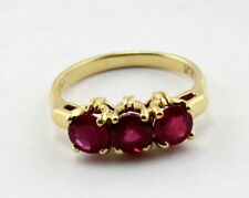 Estate 3 stone created ruby ring 14k yellow gold