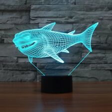Cool Novel 3D Shark Pattern LED Night Light USB Power 7 Colors Change Lamp