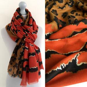 Large Leopard Print Scarf Rust Orange Tan Brown Animal Zebra Big Long Shawl Wrap