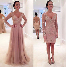 Pink Detachable Train Wedding Dresses Bridal Gown Lace Long Sleeves Custom Funky