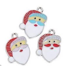 3 Enamel Santa Christmas Charms Pink Red Lt Blue Ho Ho Ho 15mm x 22mm New