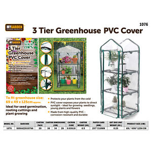 3 & 4 Tier Small Greenhouse PVC Cover Outdoor Garden Plants Grow Replacement