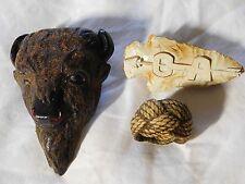 3 Great BOY SCOUT NECKERCHIEF SLIDES w/ Vintage CLOTH CORD TURKS HEAD & O A