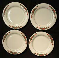 Set of 4 Poinsettia & Ribbons Fine China Christmas Holiday Salad Dessert Plates