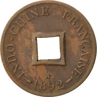 [#84410] FRENCH INDO-CHINA, 2 Sapeque, 1892, Paris, KM #6, EF(40-45), Bronze