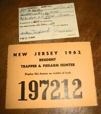 Nj 1962 Hunting/Trapping License + Ft. Dix Permit, Vintage