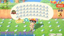 Animal Crossing New Horizons 1600 NMT 🎫 Nook Miles Ticket + 3 MILLIONS BELLS 🔔