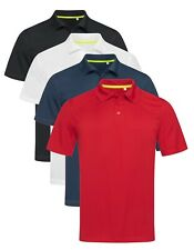 Active Dry Plain RED BLACK BLUE or WHITE Breathable Polyester Sports Polo Shirt