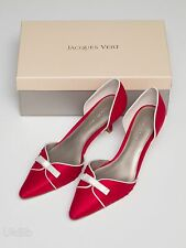Jacques Vert Rosso Bianco Scarpe Madre Nuovo Matrimonio UK 6