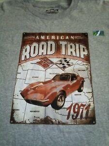 GM Chevrolet 1971 Corvette Stingray American Road Trip T-Shirt Men's XL Gray