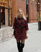 ZARA CHECK OVERSHIRT SHACKET WITH BELT FRAYED HEM RED BLACK SIZE L BLOGGERS FAVE