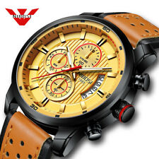 NIBOSI Mens Watch Leather Chronograph Quartz Watch Sports Military Wrist Watch