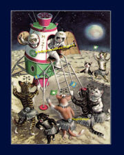 Vintage SPACE CATS 8X10 ufo kittens Postcard art reproduction print picture