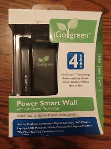 IGO Green Power Smart Wall 4 OUTLET Surge Protector 1080 Joules 120V PM00012 #go