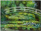 "CLAUDE MONET ~ Japanese bridge waterlilies *FRAMED* CANVAS ART 18x12"""