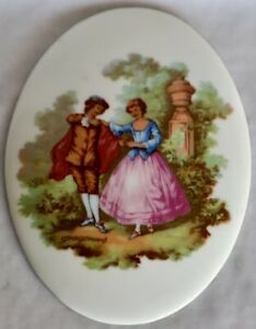 Vintage Gerold Porzellan Tettau Bavaria Oval Plaque Male & Female walking garden