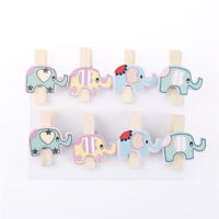 8x Mixed Colorful Elephant Wood Clips Photo Paper Pegs Clothespin Craft Deco Nk