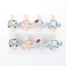 8x Mixed Colorful Elephant Wood Clips Photo Paper Pegs Clothespin Craft Decor WB