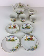 Vintage Children's Shell Ceramic Teaset With Teapot Saucers Cups Side Plates