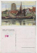 35352-Max Clarenbach: pescatori porto la sera-vecchia cartolina