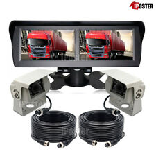 "4.3"" Dual Screen Monitor 4ch 4 PIN+2x White CCD IR Reversing Camera For Caravan"