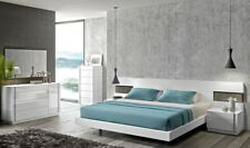 Amora Contemporary King Bedroom Set in White Lacquer, 5-Piece