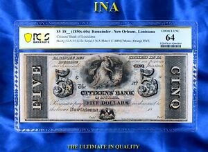 Louisiana New Orleans Citizens Bank $5 PCGS Very Choice Unc 64 Perfect Margins