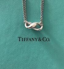 "Beautiful Tiffany & Co Infinity Double Strand Necklace Infiniti Pendant 16"""
