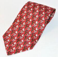 FN Neckwear Tie Christmas Santa Claus Holly Red Designer Print 100% Silk Novelty