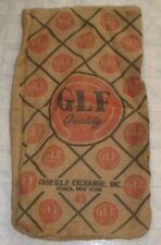 Vintage GLF COOP Exchange Burlap Feed Sack / Bag Ithaca, New York Hog / Pig (A2)