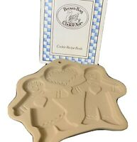 "Brown Bag Cookie Art Mold Gingerbread Girl and Boy With Recipe Book 6 1/4"" x 6"""