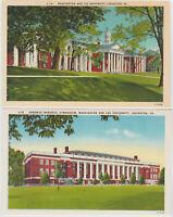 Lexington, VA Washington and Lee University Vintage Postcard LOT 2 Linen Old