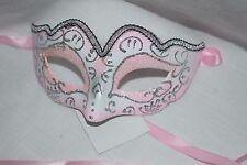 Pink and Silver Glitter Princess Fairy Mask Halloween Mardi Gras Fancy Dress