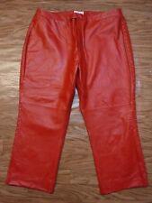Andre Bencix Red 100% Leather Side Elastic Waist Flat/F L/Pant Women 28 *NWOT*