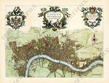 antique Georgian London plan map old engraving John Strype 1720 large art poster